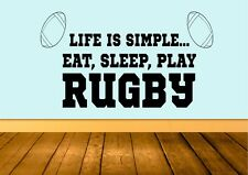 Life Is Simple Play Rugby Wall Art Sticker Quote Decal Vinyl Transfer