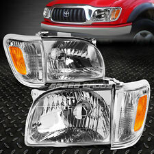 CHROME HOUSING CLEAR HEADLIGHT+AMBER CORNER LIGHT FOR 01-04 TOYOTA TACOMA TRUCK
