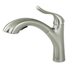 NEW Modern Contemporary Brushed Nickel Kitchen Sink Faucet Pull Out Dual Spray