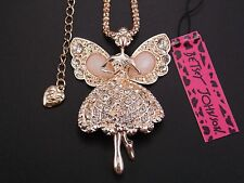 Betsey Johnson Cute Shiny crystal elf angel pendant Necklace # F119A