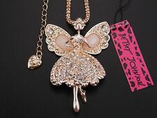 Betsey Johnson Cute Shiny crystal elf angel pendant Necklace # F119