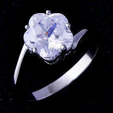 cute Womens jewelry Wedding White Gold Filled white Crystal Flower Ring Size 6