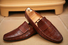 Asprey London Men's Made In Italy Alligator / Crocodile Skin Loafers Shoes UK 9