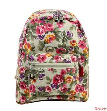 "Women Girl Canvas 12"" Medium Shoulder Backpack Rucksack Rose Flower Floral Cream"