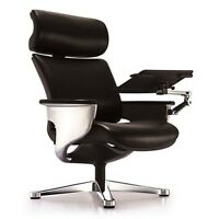 Eurotech Nuvem Leather Lounge Executive Chair w/ Ottoman & Tablet Arm - Black