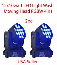 LOT DJ 12x10w LED LIGHTS WASH MOVING HEAD RGBW 4in1 DMX STAGE PARTY SHOW 2PC