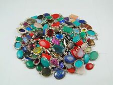 100PCS BEAUTIFUL PENDANT MIX GEMSTONE WHOLESALE LOT 925 STERLING GENUINE SILVER