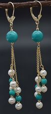#BE184 14K Solid Gold Natural Turquoise & Pearl Chandelier Leverback Earrings