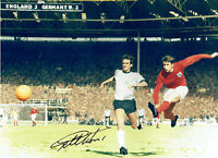 Geoff HURST Signed Autograph 16x12 England 1966 World Cup Goal Photo AFTAL COA