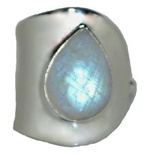 Sterling SILVER Rainbow Moonstone Adjustable Ring Genuine Gemstone 925 Jewellery