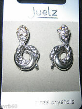 Pair of crystal studded silver  colour snake earrings new