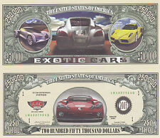 10 Exotic Cars Novelty Funny Money Bills Lot