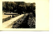 Pretty Scenic Flower Garden-Shrubs-Path-Lawn-RPPC-Real Photo Vintage Postcard