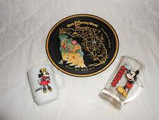 Vintage 1970's Walt Disney World Florida Round Metal Tray + Mickey Mug & Glass