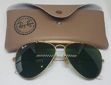 USED VINTAGE RAY-BAN B&L AVIATOR SUNGLASSES GREEN LENS WITH CASE