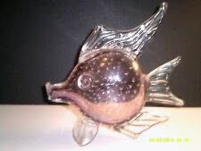 Large Hand Blown Glass Textured Amethyst Artisan Collectable Angel Fish