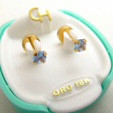 Brand New 18k Solid Yellow Gold Baby Stud Post Earrings Light Blue Zircon