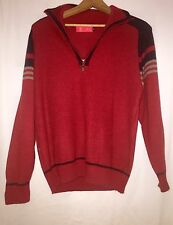 Vintage Xiang Sheng Red Half Zip Sweater Pullover Mens Large Blue Grey Striped