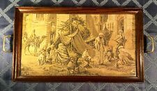 Fine Antique French Tapestry under glass~Oak Serving Tray w/ Brass Handles~RARE