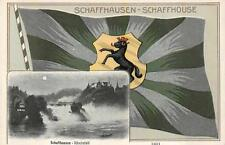 SCHAFFHAUSEN RHEINFALL SWITZERLAND FLAG & TOWN VIEW EMBOSSED POSTCARD (c. 1905)