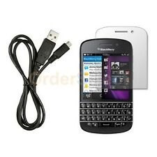 USB Micro Data Charger Cable+LCD Screen Shield Protector for BlackBerry Q10 4G