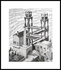 MC Escher Wasserfall Poster Kunstdruck Bild mit Alu Rahmen in schwarz 65x55cm