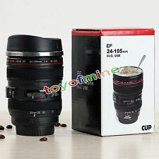 Caniam Camera Lens Cup 24-105 Tea Coffee Travel Mug Stainless Steel Thermos+ Lid