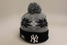 New Era NY New York Yankees Intarsia Grey Navy Blue Snowflake Pattern Skully