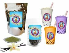 10+ Drinks Vanilla Green Tea Boba Tea Kit: Tea Powder, Tapioca Pearls & Straws