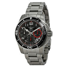 Longines Hydroconquest  Chronograph Black Dial Stainless Steel Mens Watch