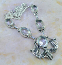 """GORGEOUS GENUINE FACETED  WHITE TOPAZ 925 SILVER HONEY BEE LEAF NECKLACE 17 1/2"""""""