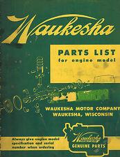 "WAUKESHA VINTAGE 190DLC  33/4""X4""  ENGINES PARTS  MANUAL 1957"