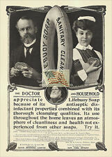 REPRINT PICTURE old ad LIFEBUOY SOAP SANITARY CLEANSER doctor household 1903 5x7
