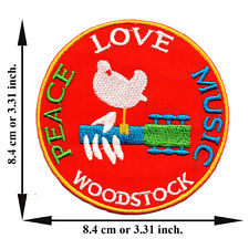 Woodstock Peace Love Music Guitar V01 Applique Iron on Patch Sew Free Shipping