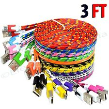 3FT Rope Micro USB Charger Charging Sync Data Cable Cord for Cell Phone Flat Lot