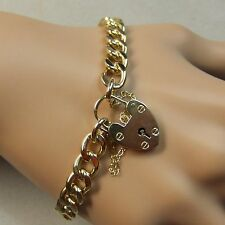 9 ct gold second hand solid heavy flat curb charm bracelet