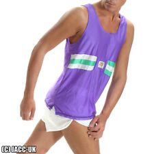 NEW S Mens Shiny Viga Running Vest Singlet Training Run Sports Top Gym Int.TV67