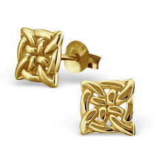 Quality Gold Plated 925 Sterling Silver Square Celtic Knot Ear Studs - 7mm