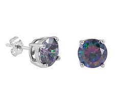8mm Round Mystic Topaz CZ .925 Sterling Silver Cast Setting Stud Earring