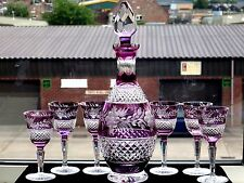 Antique Amethyst Gorgeous Rare Crystal Glass Decanter and 6 Wine Goblets Set