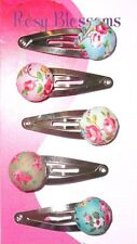 6x FLORAL BUTTON Snap Hair Clips Girl's Vintage Flower Fabric Shabby Chic Bow