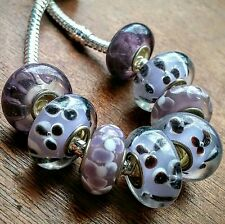 8P Color Change Purple 3D Flowers Stripe Single Core European Murano Glass Beads