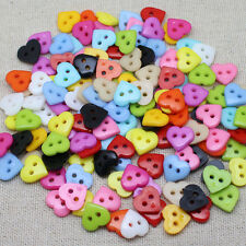 FREE 100 pcs Heart Mixed Colors Resin Buttons Fit Sewing or Scrapbooking 10mm