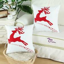 "SET OF 2 Calitime Cushion Covers Pillow Shells Red Christmas Reindeer 18"" X 18"""