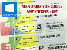 SOFTWARE MICROSOFT LICENZA CODICE WINDOWS WIN 10 PRO 32 64 BIT ADESIVO NUOVO COA