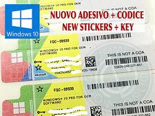 MICROSOFT LICENZA CODICE KEY WINDOWS WIN 10 PRO 32 64 BIT ADESIVO NUOVO COA