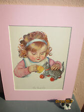 vintage illustration of girl and her toy cat by Maud Tousey Fangel 1932