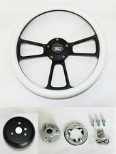 "Bronco F100 F150 F250 F350 Steering Wheel 14"" White Grip on Black with Ford Cap"