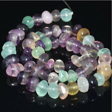 """6mm-13mm Natural Fluorite Freeform Rondelle Nugget Spacer Beads 7.5"""""""