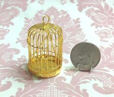 Dollhouse Miniature Furniture Metal Gold Bird Cage Swing 4.5cm 1:12